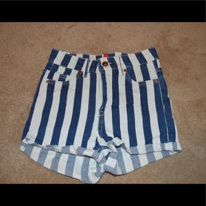 Forever 21 pinstripe jean shorts